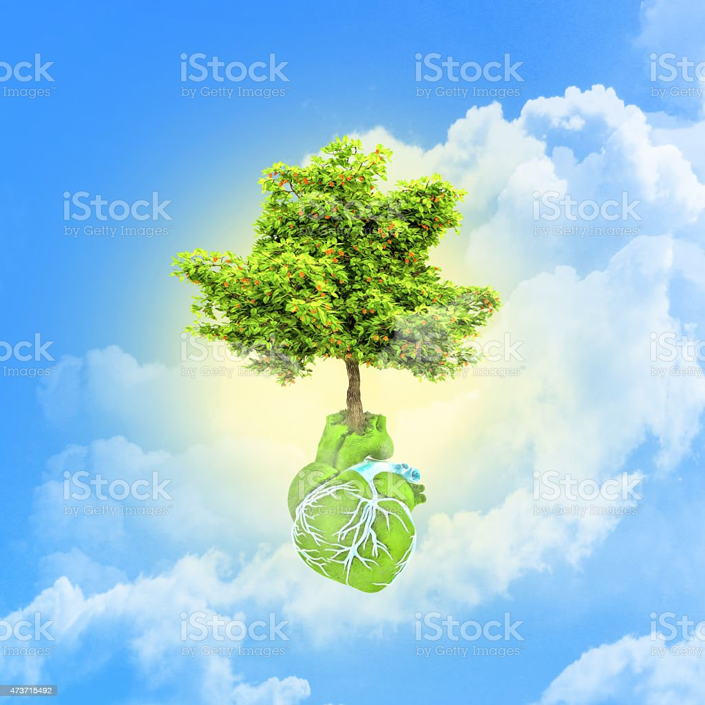 Abstract in the form of heart and tree. stock photo