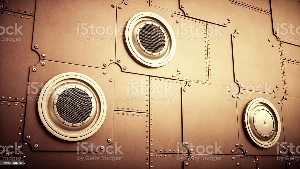 Abstract Industrial Background Wall Design With Air Vents stock photo