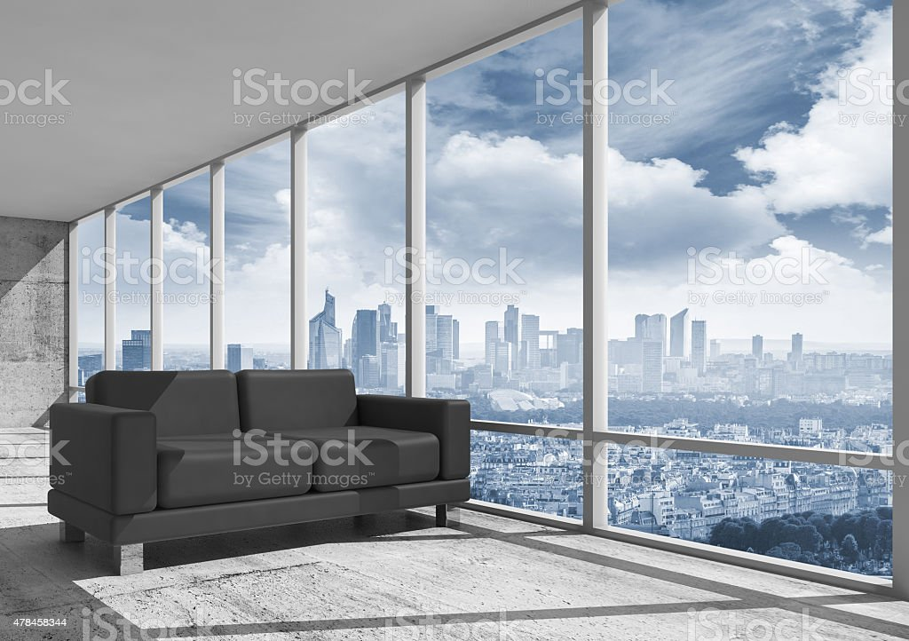 Abstract interior, office room with concrete floor vector art illustration