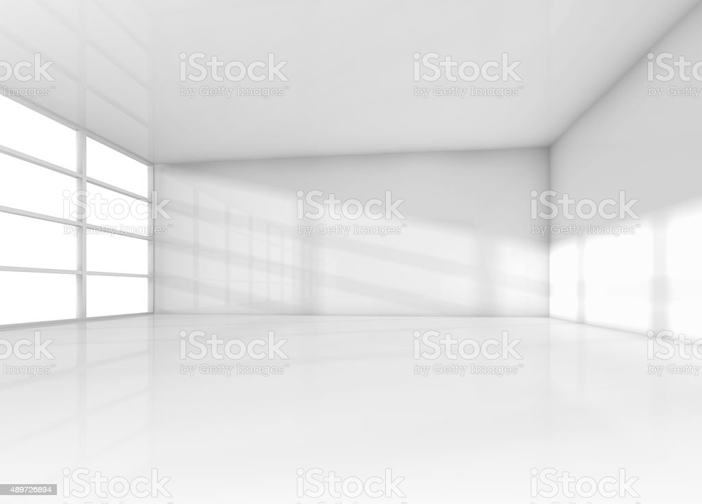 Abstract interior, white empty room with daylight stock photo