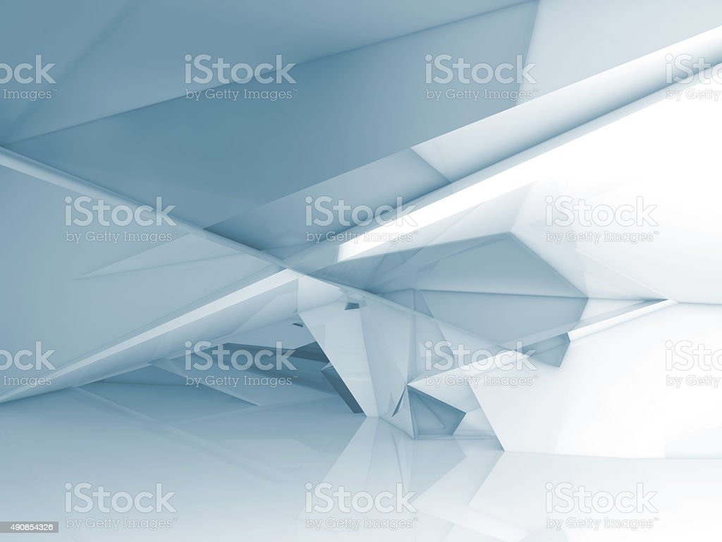 Abstract interior with chaotic polygonal structure stock photo