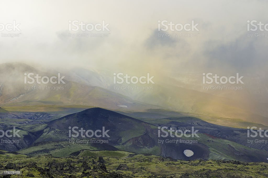 Abstract Kamchatka landscape with rainbow effect stock photo