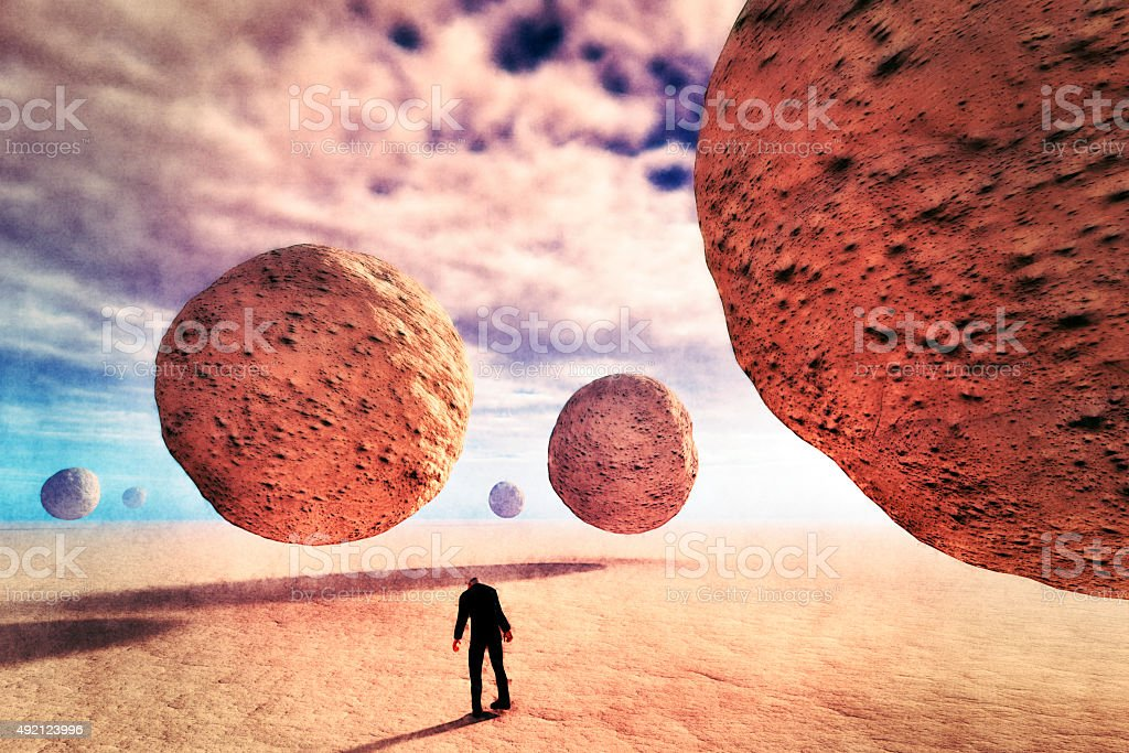 Abstract landscape, tired zombie businessman walking stock photo