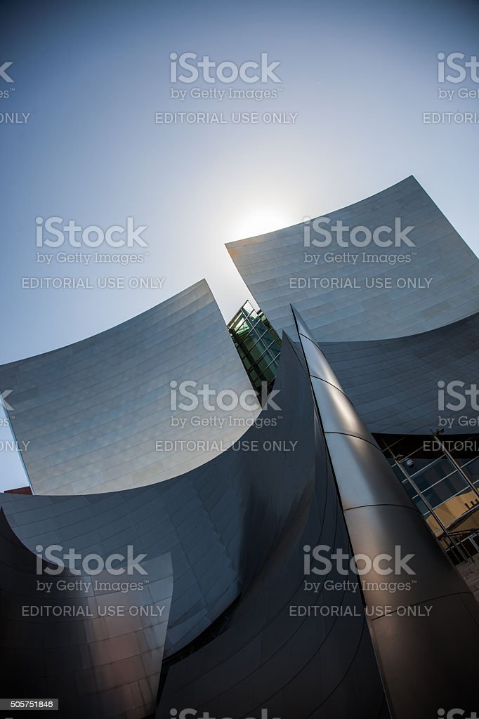 Abstract late afternoon view of Walt Disney Concert Hall stock photo