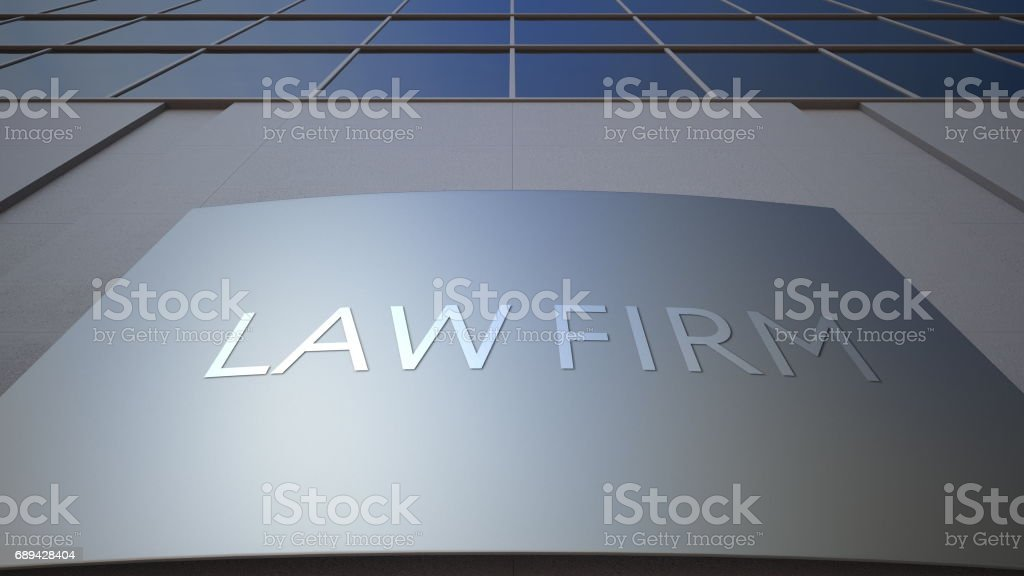 Abstract law firm signage board. Modern office building. 3D rendering stock photo