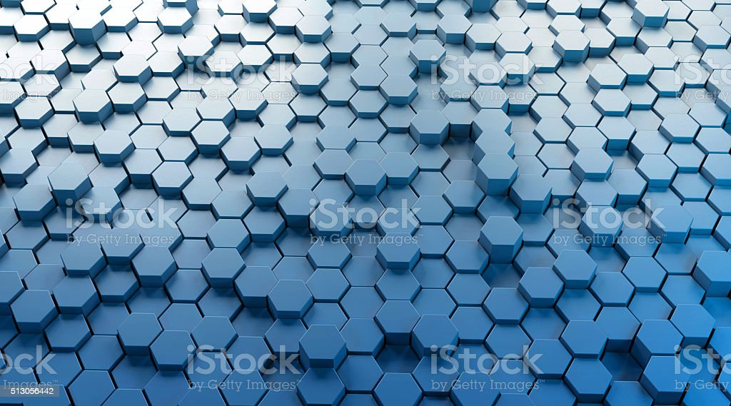 Abstract light blue background with hexagon shaped grid stock photo
