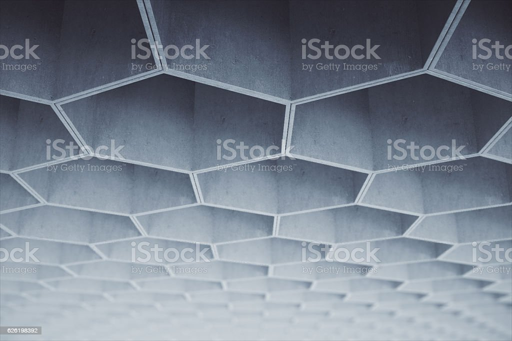 Abstract light grey hexagon concrete pattern on ceiling. 3D Rendering stock photo