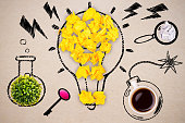 Abstract lightbulb and other items