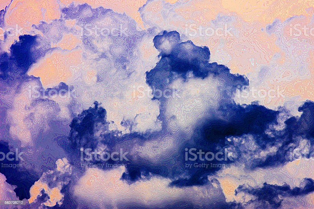 Abstract Line Design Ink Blue Lavender Orange stock photo