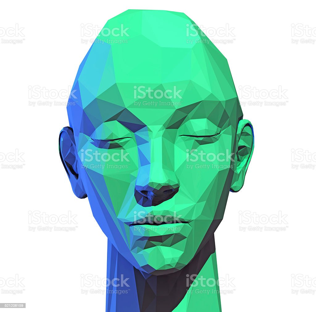 abstract low poly  human head stock photo