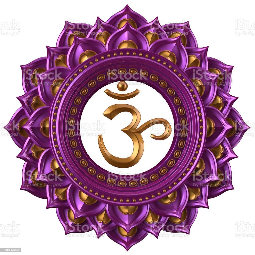 abstract magenta Sahasrara chakra symbol, 3d modern illustration stock photo