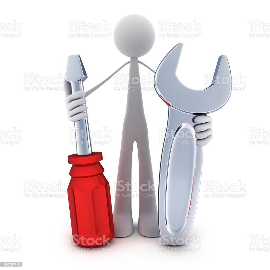 Abstract man and tools stock photo