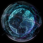 Abstract map of the global telecommunications network
