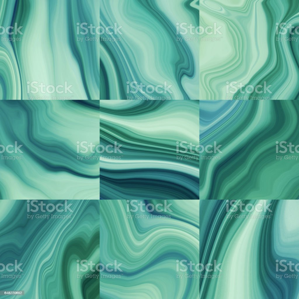 abstract marbled background, malachite slab, decorative paint texture, liquid marbling effect, creative painted wallpaper, green macro wavy lines vector art illustration