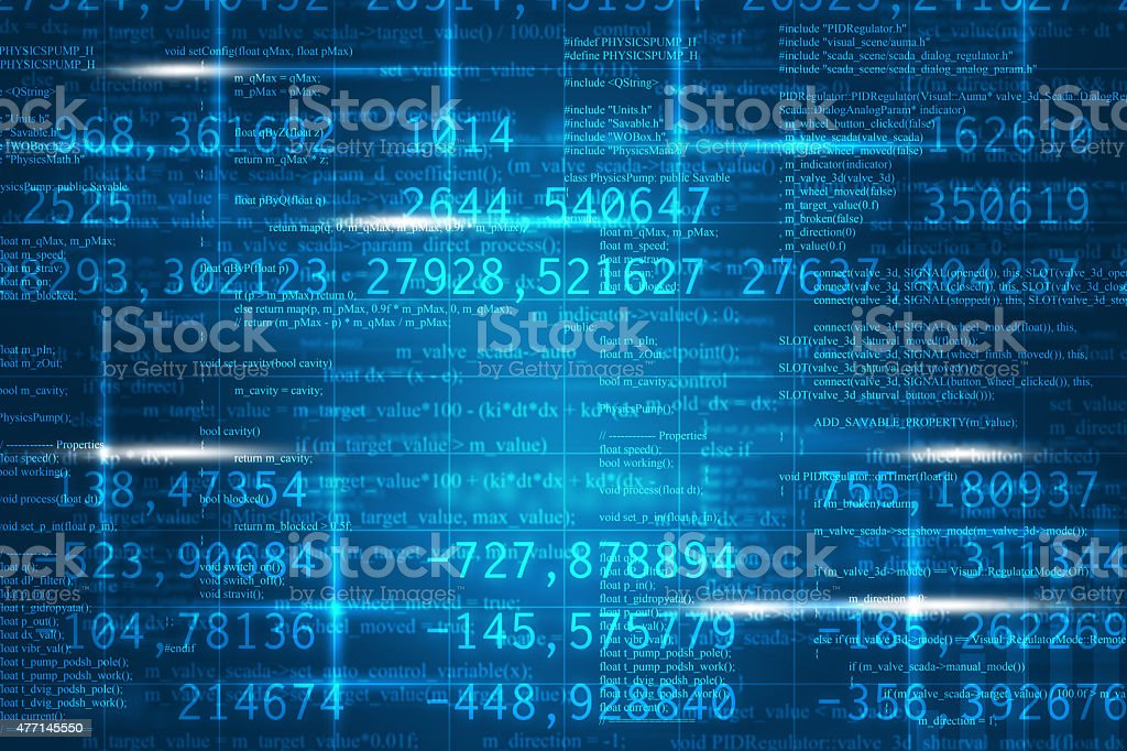 Abstract matrix blue background stock photo