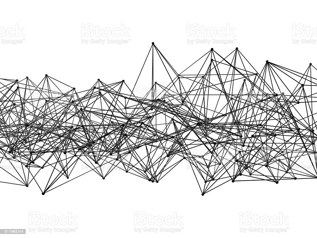 Abstract mesh structure isolated on white, 3d stock photo