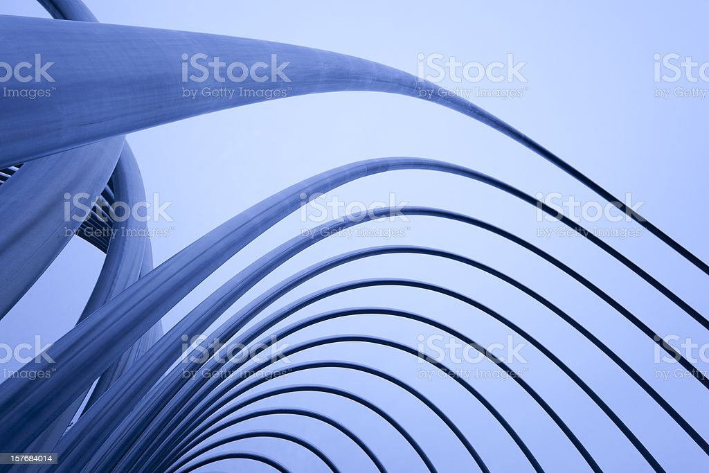 Abstract Metal Pipes and Tubes Sculpture Madrid, Spain stock photo