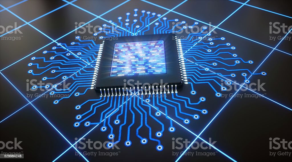Abstract Microchip with LCD display stock photo