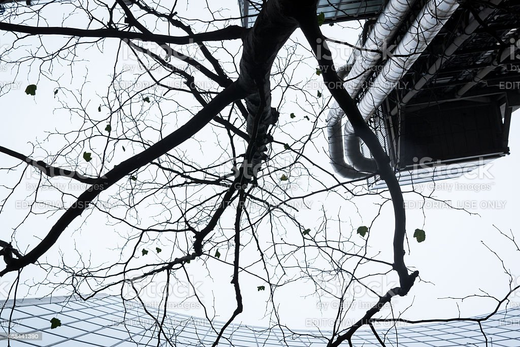 Abstract Modern Building and Tree Silhouette Pattern Design stock photo