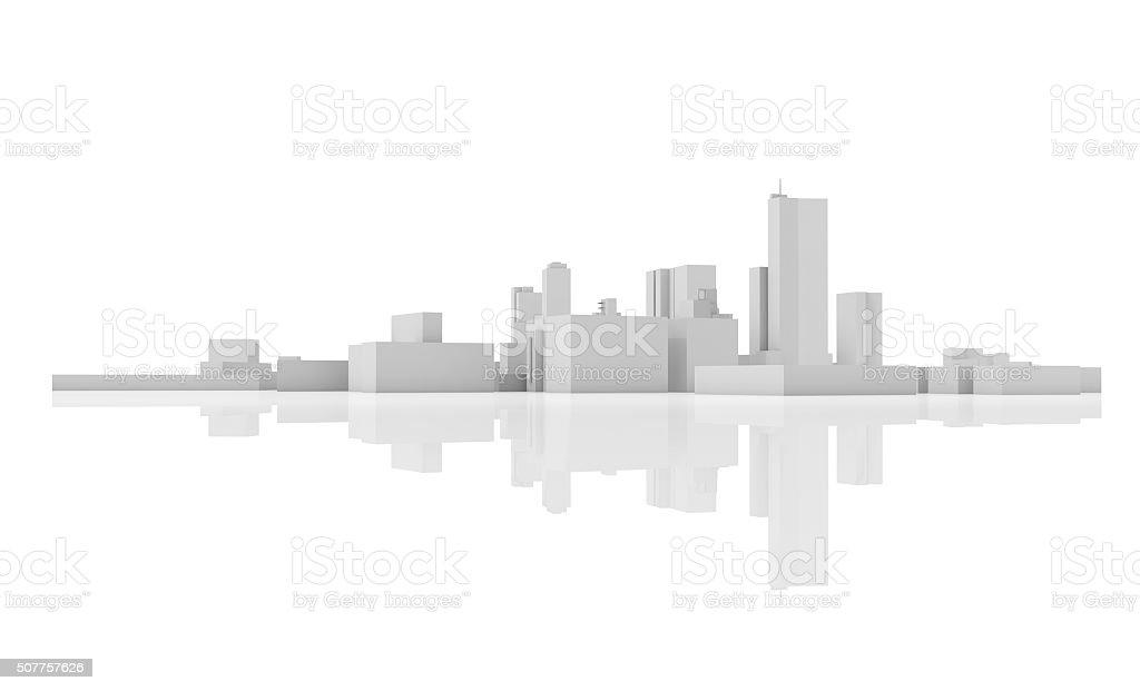 Abstract modern cityscape skyline. 3 d model stock photo