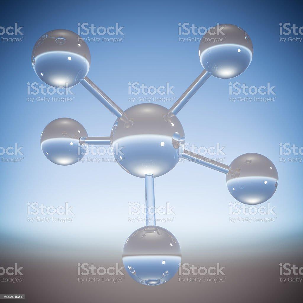 Abstract molecule - 3D illustration stock photo