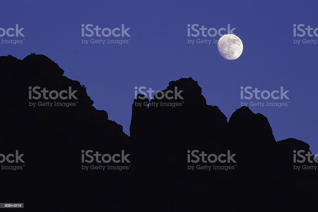 abstract moonrise landscape silhouette stock photo