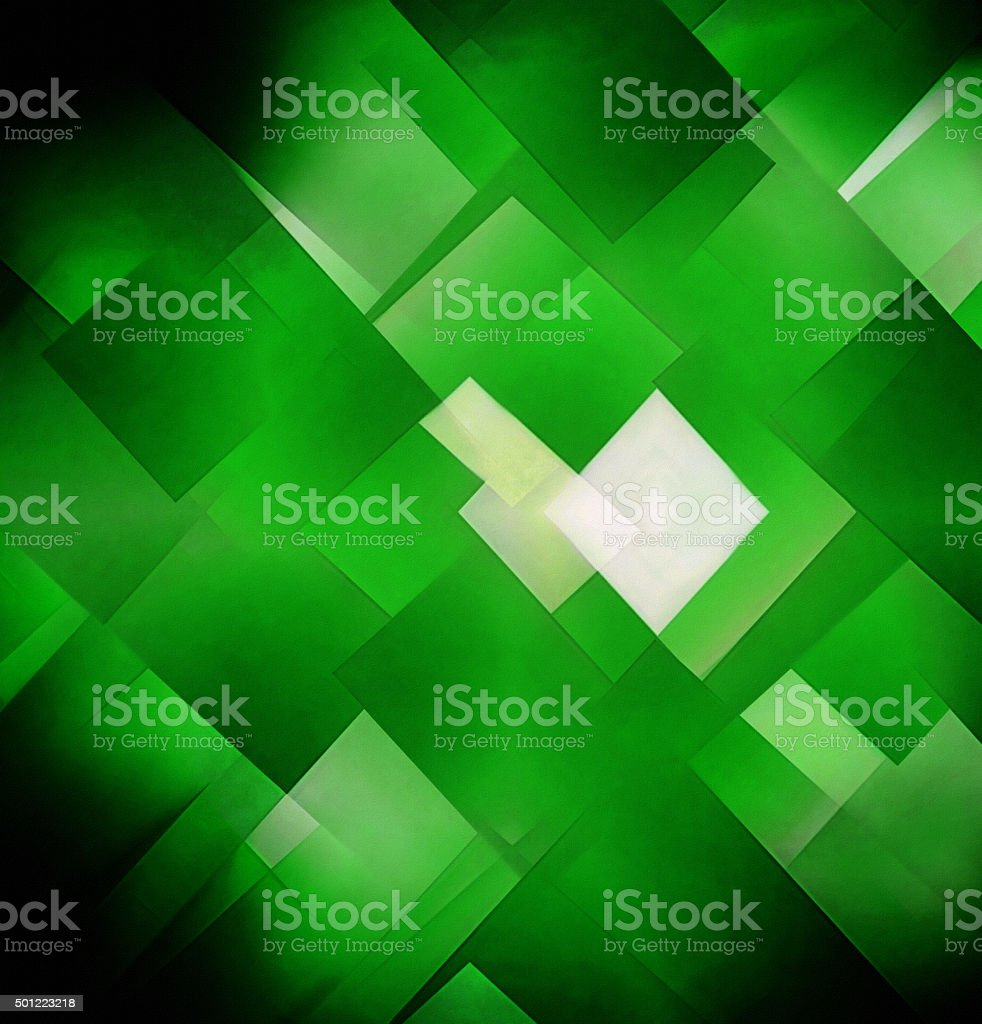 Abstract mosaic-like multilayer composition of square green and white elements stock photo