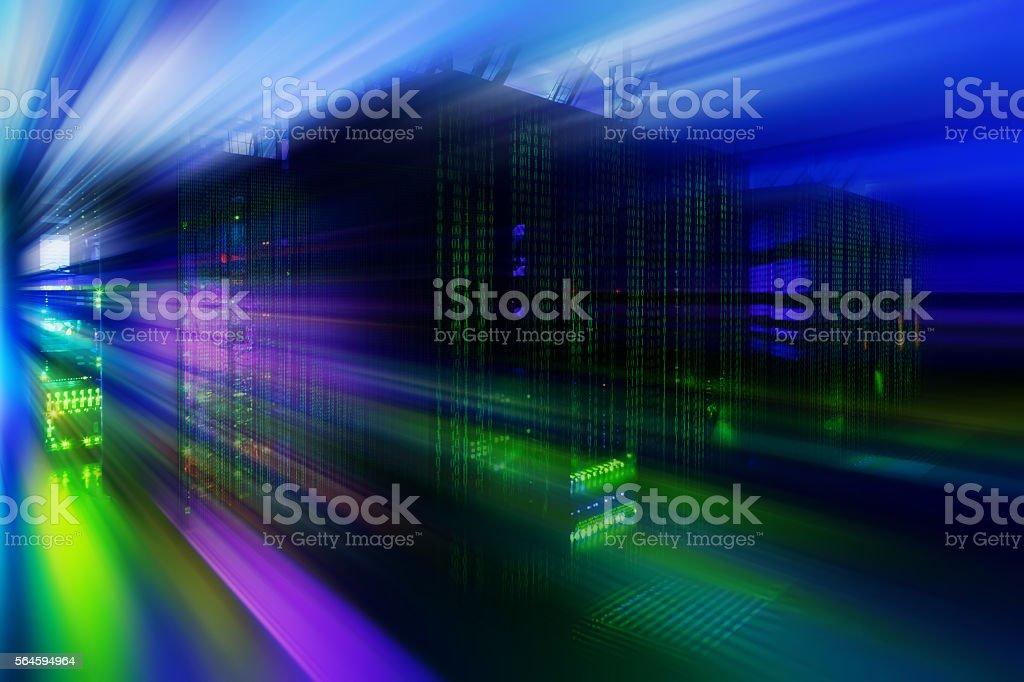 abstract motion blur futuristic data center room stock photo