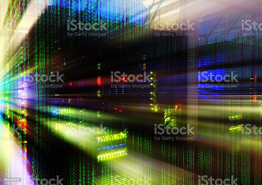 abstract motion blur futuristic room with binary code data center stock photo