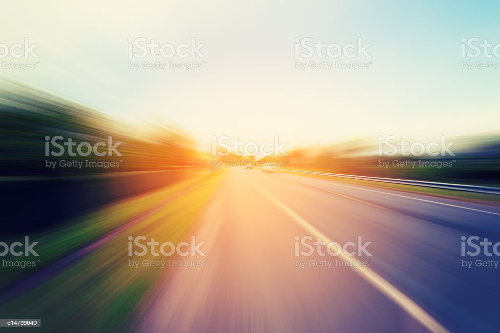 Abstract motion blur of the road with sunlight stock photo