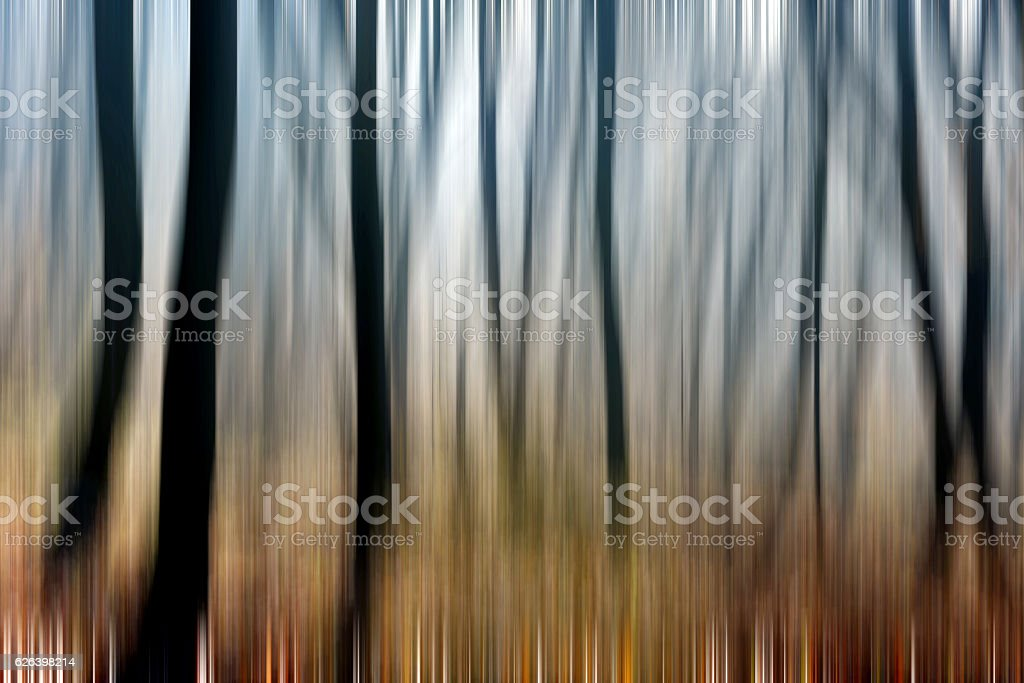 Abstract motion blur of trees in a forest stock photo
