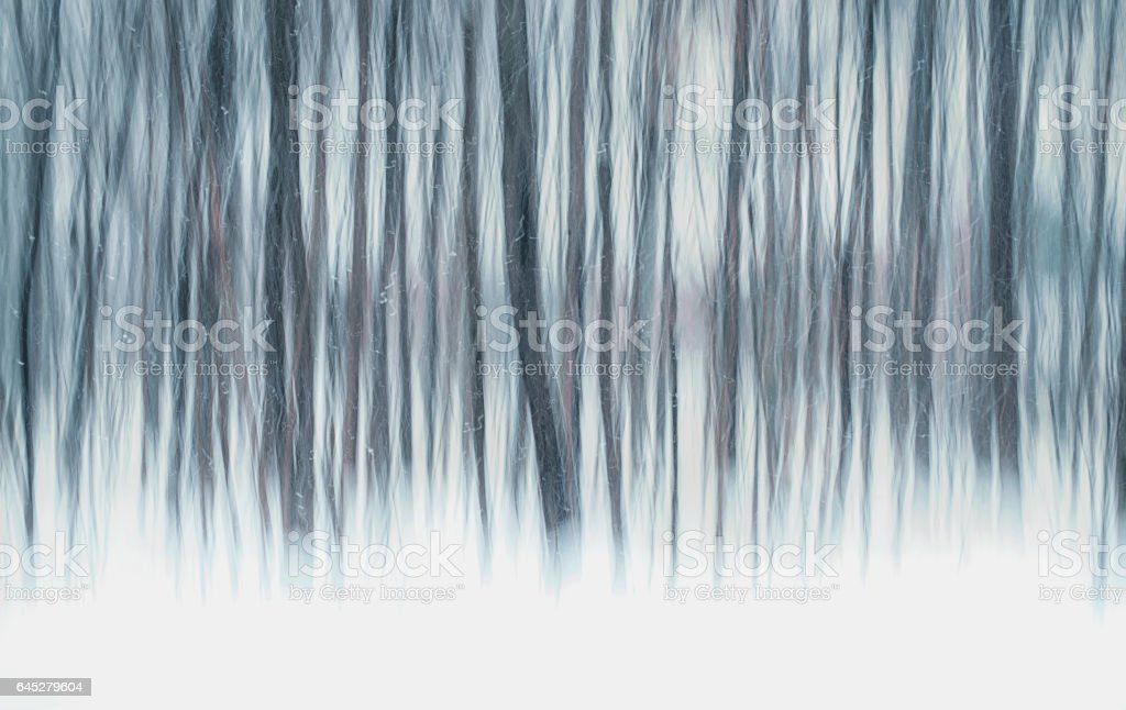 Abstract motion blur of trees in the snow stock photo