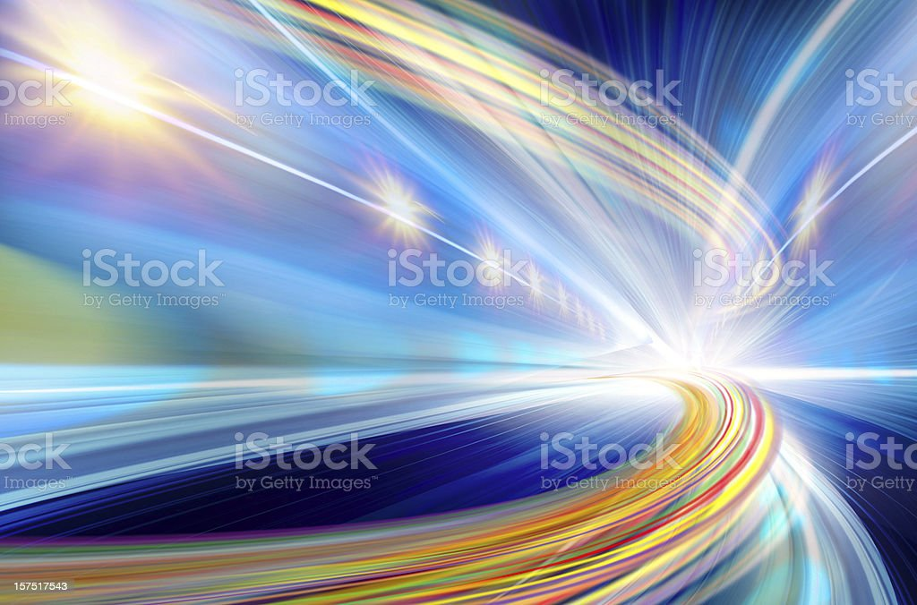 Abstract multicolor fast moving light background stock photo