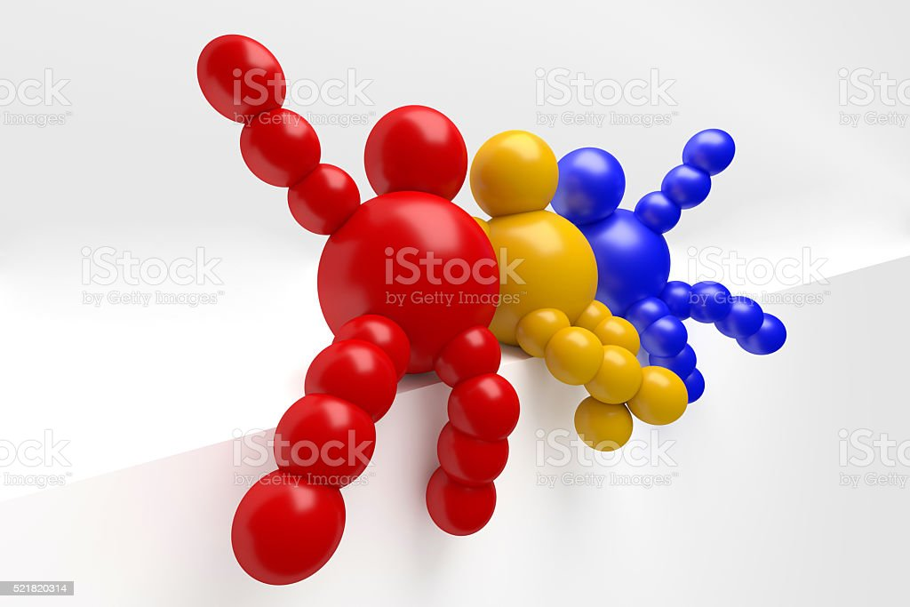 3D abstract multicolored 'Ballman' characters stock photo