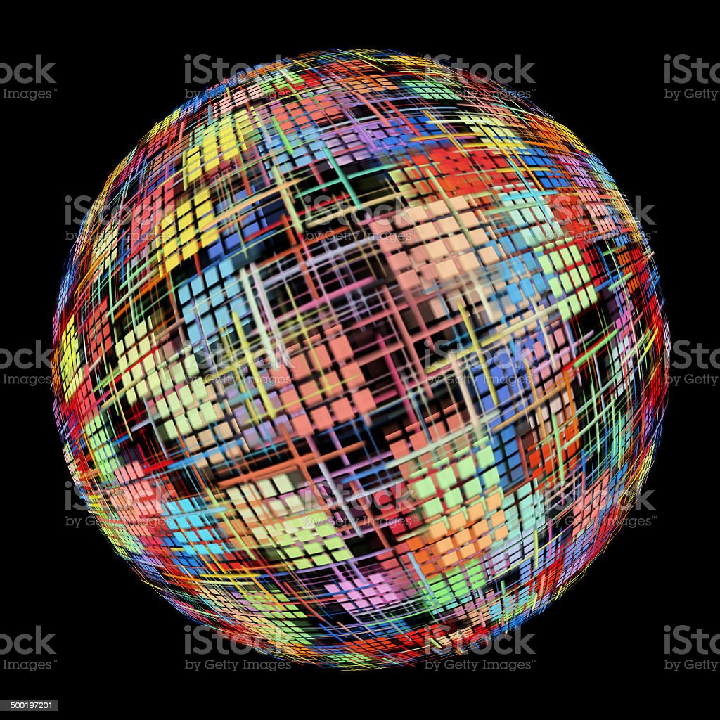 Abstract Multicolored globe silhouette on black background. royalty-free stock photo