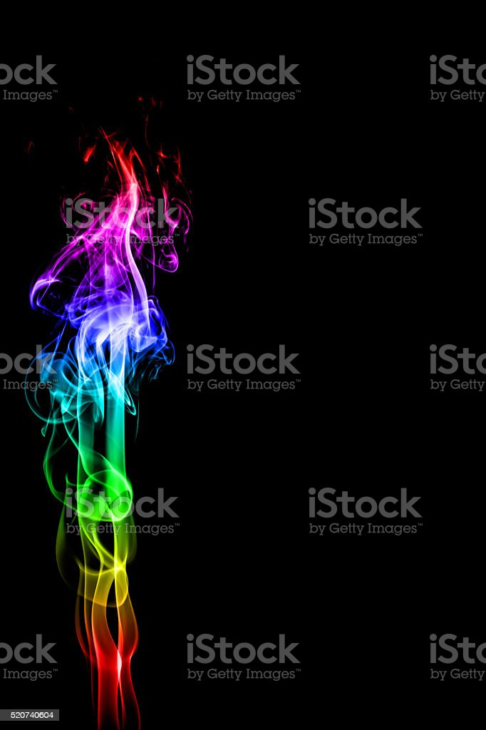 Abstract multicolored smoke on black stock photo