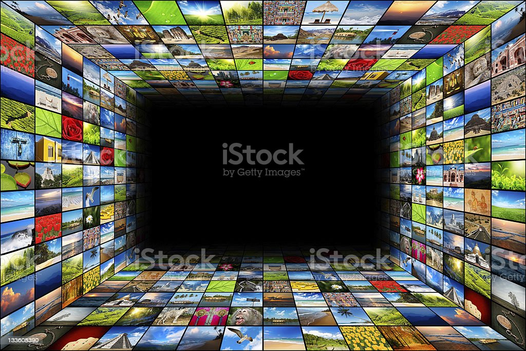 Abstract multimedia background composed of many images stock photo