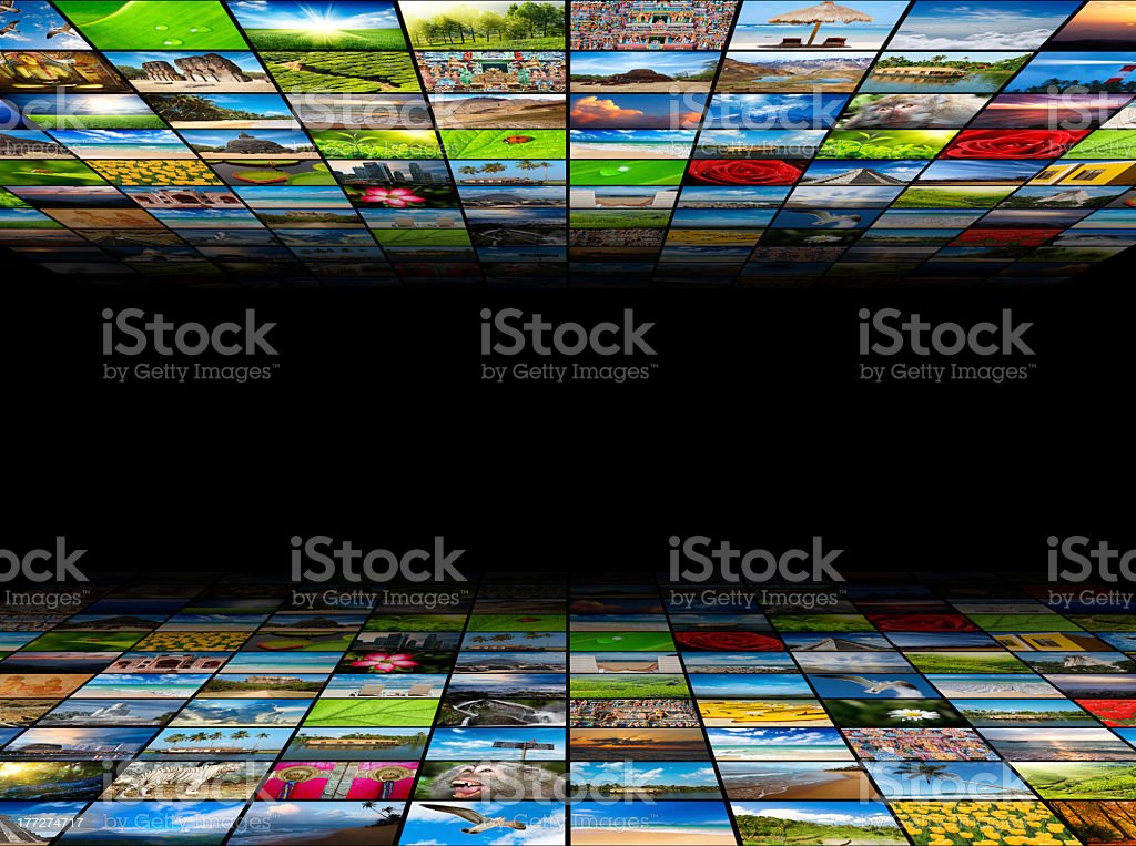 Abstract multimedia background composed of many images with copy stock photo