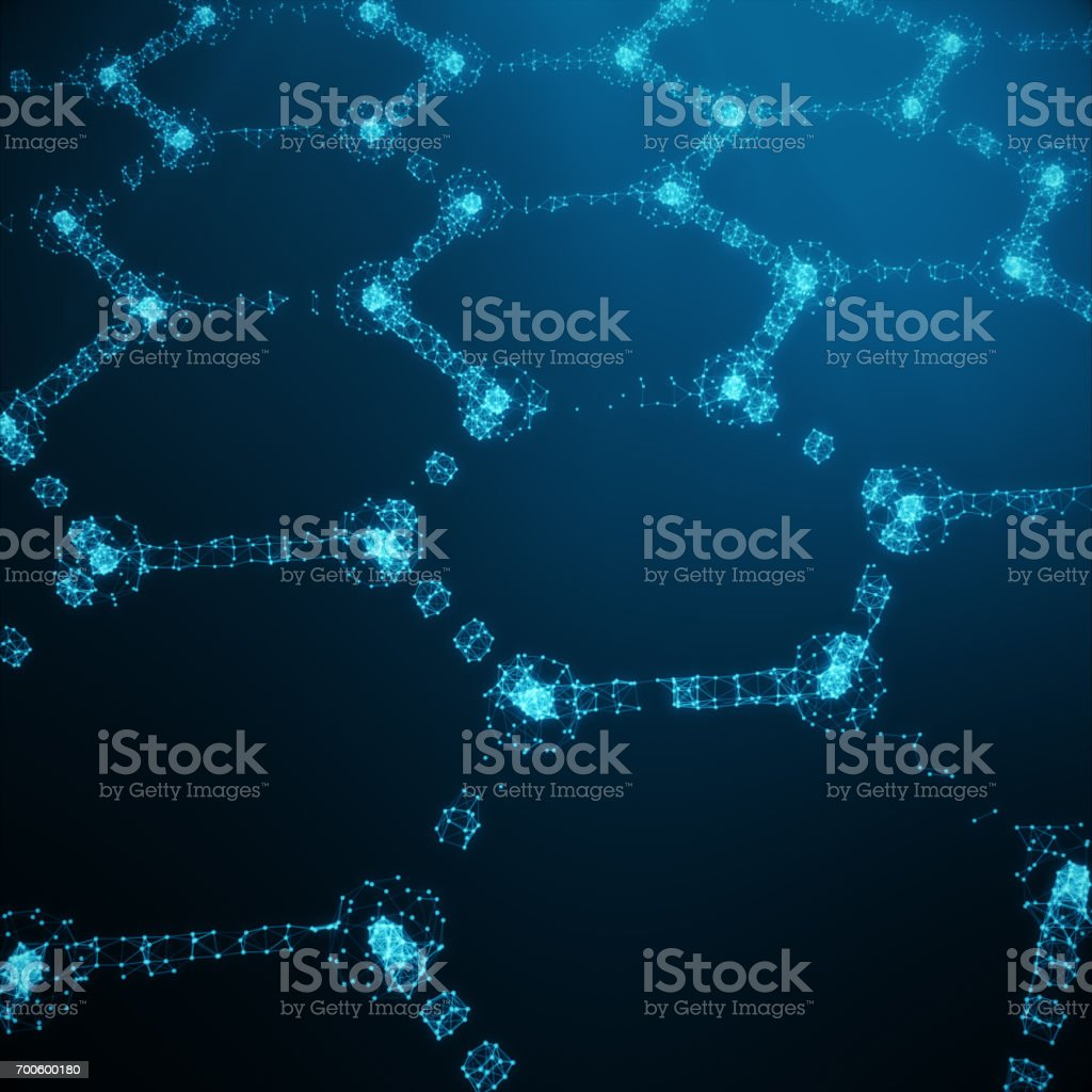 Abstract nanotechnology hexagonal geometric form close-up, concept graphene atomic structure, concept graphene molecular structure. Shining Hexagonal form consisting dots and lines, 3D rendering stock photo