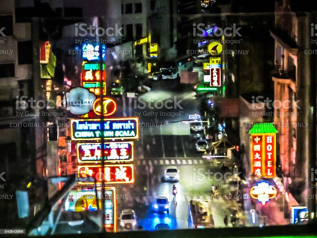 Abstract Neon Hustle Bustle Chinatown Bangkok stock photo