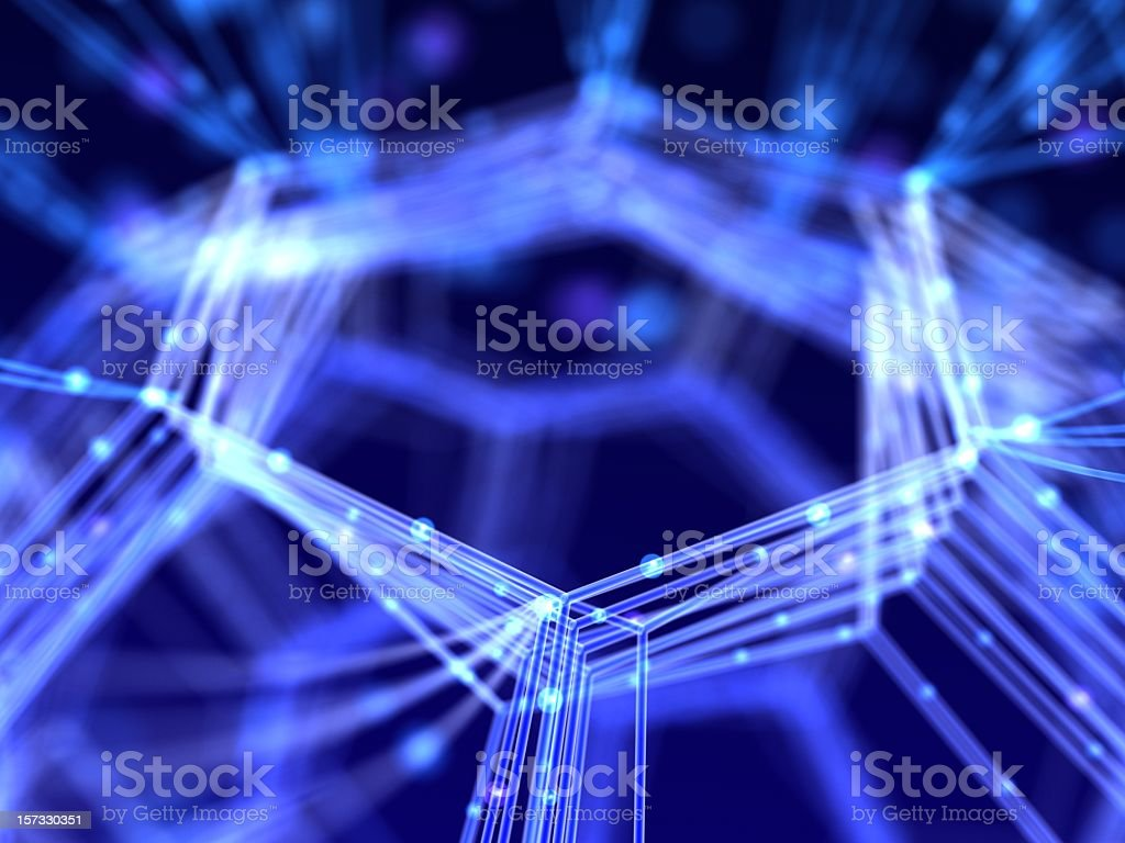 Abstract network design with glowing lines on dark blue back stock photo