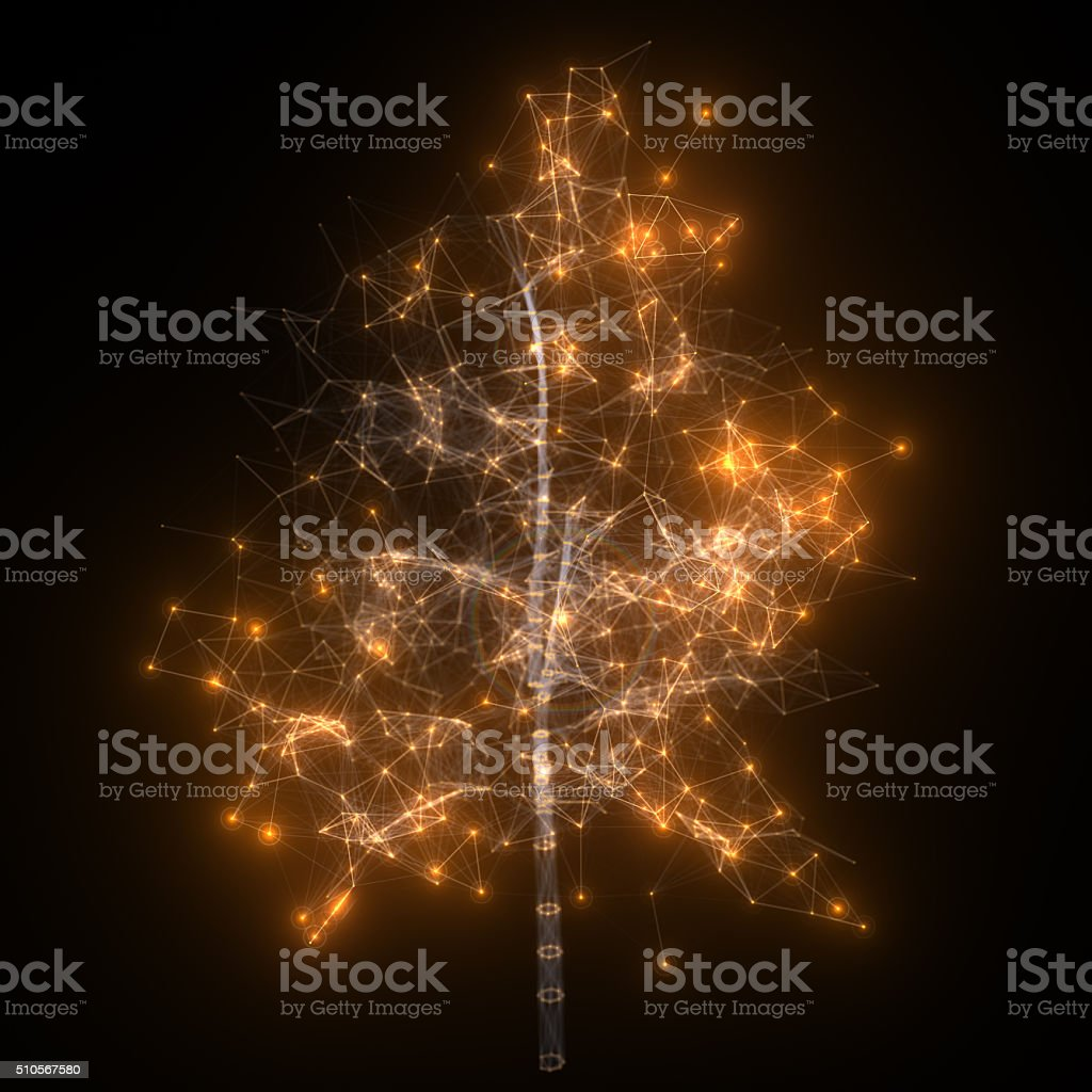 Abstract network. Glowing tree. stock photo