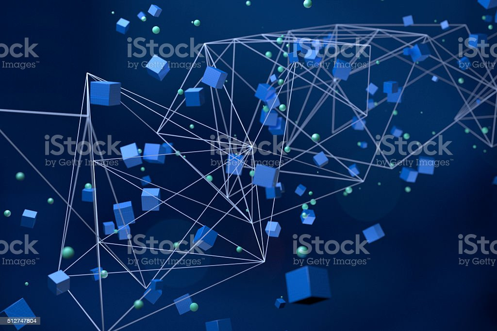 Abstract network structure with cubes and spheres stock photo