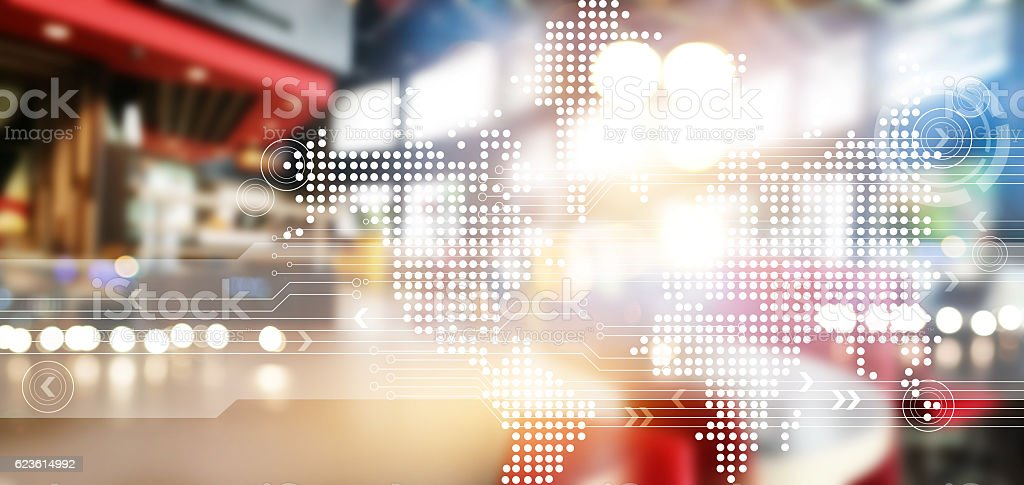 Abstract network technology for background stock photo