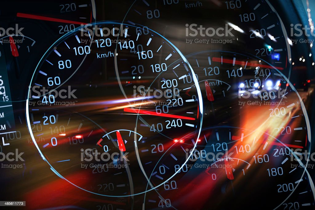 Abstract night racing illustration with blurred lights stock photo