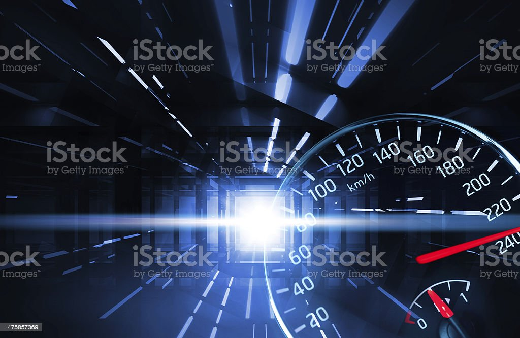 Abstract night racing illustration with lights and speedometer stock photo