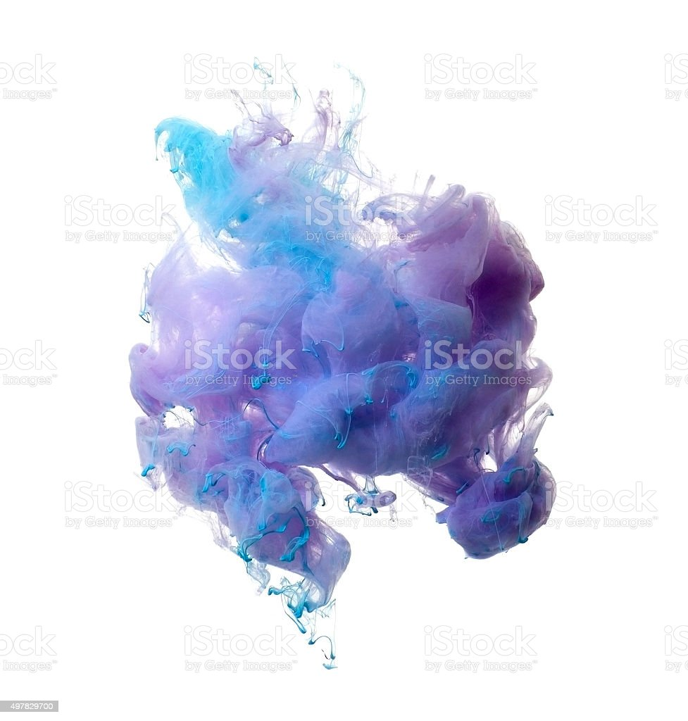 Abstract of blue and brown acrylic paint in water. stock photo