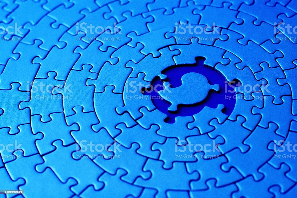 abstract of blue jigsaw with space and one missing piece royalty-free stock photo