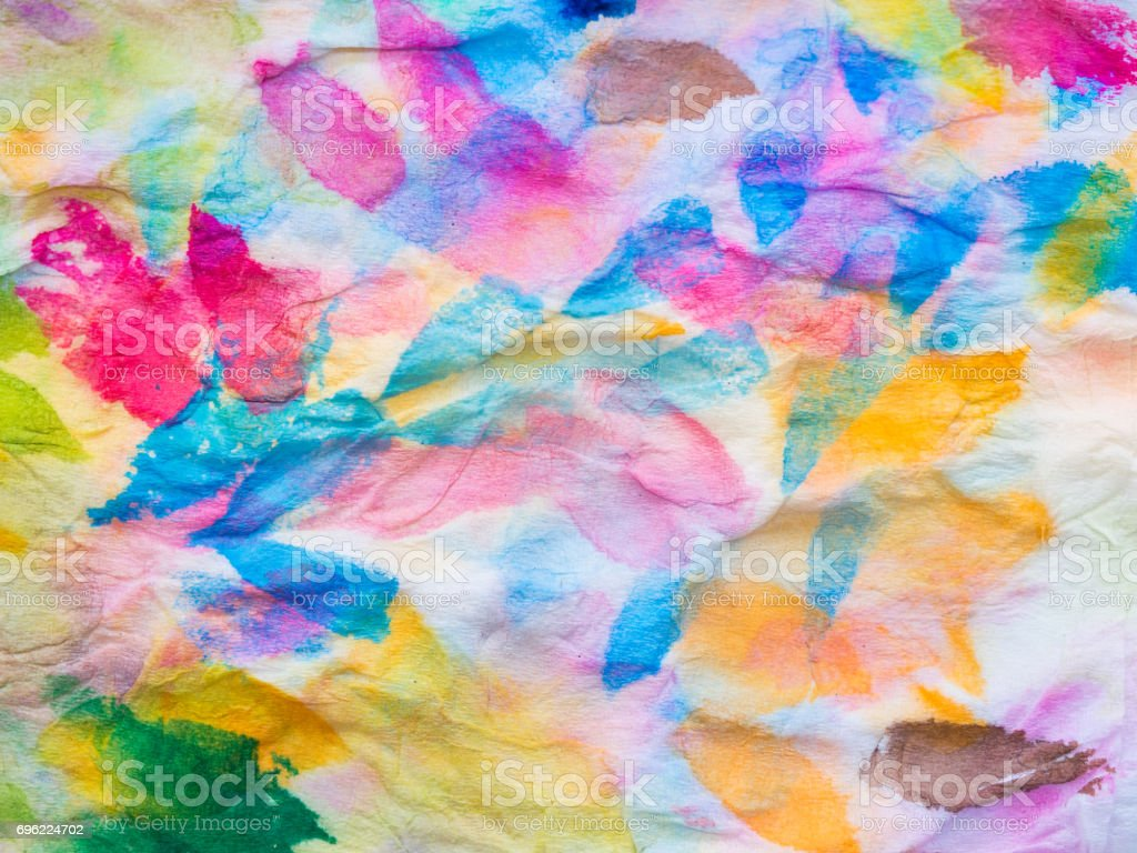 Abstract of colorful watercolor on tissue paper stock photo