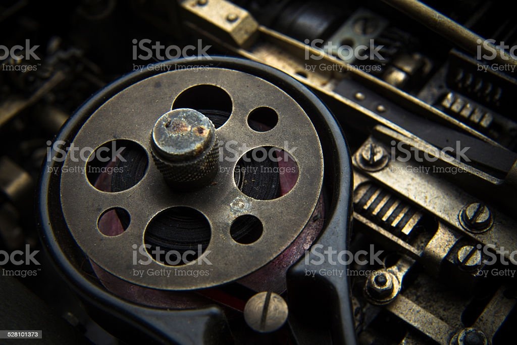 Abstract of Ink Ribbon on Vintage Teletype Machine stock photo